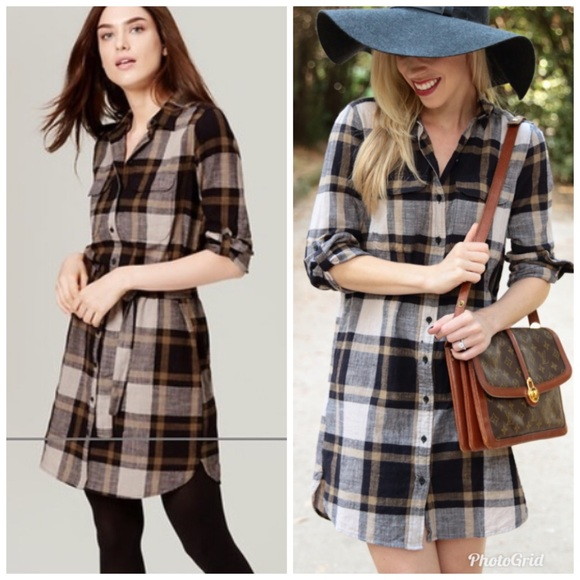 LOFT Dresses & Skirts - LOFT Plaid Belted Shirt Dress